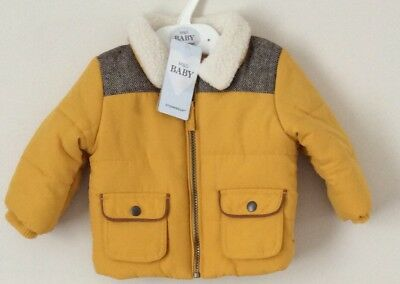 Marks & Spencer Baby Boy's Padded Mustard Jacket Coat Age 0-3 Months New
