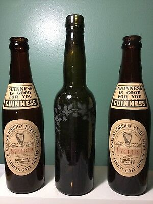 2 - 11.85 oz Guinness Foreign Extra Stout Bottles + Antique Green Etched Bottle
