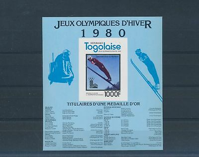 LH25275 Togo imperf Lake Placid 1980 olympic games sheet gold MNH