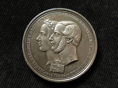 Marriage of George King of Hanover Silver Medal 1843 d.41.5mm