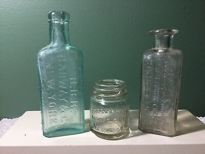 3 Antique New York Bottles - Radway &Co, Hollings-Smith Chemists & Chesebrough
