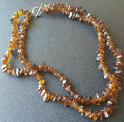 "Vintage 16"" Necklace Double Strand Cluster Genuine AMBER Bead Gemstone Boho V72"