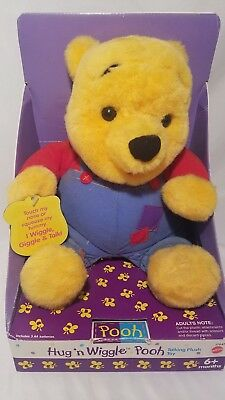 Vintage Hug'n Wiggle Winnie the Pooh TALKING ANIMATED Plush Toy Disney Mattel