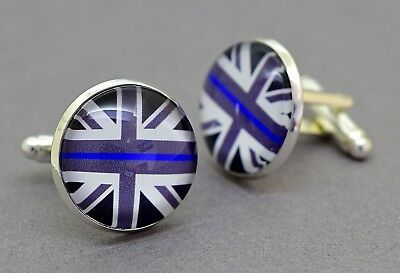 Thin Blue Line cufflinks. Police Charity. Union Jack Flag. Silver, Gold, Bronze