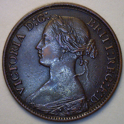 1869 Bronze Farthing Great Britain UK Coin Extra Fine