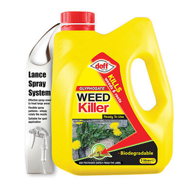 Doff Glyphosate WeedKiller 3L Lance Spray Pack Ready to Use Biodegradable