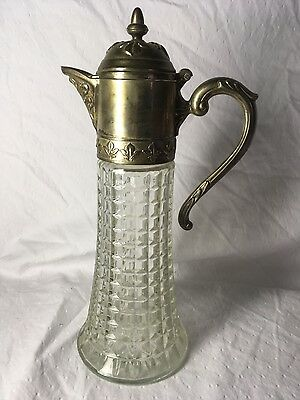Vintage Claret Jug Silver Plate Glass Pitcher Pressed Glass,