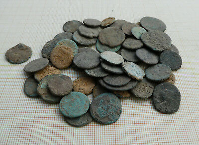 Lot of 50 ancient late Roman coins, uncleaned (L2)