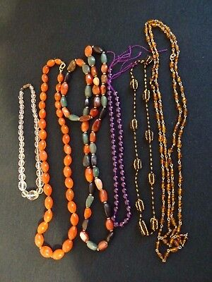 Mixed Lot Five Assorted Vintage Costume Jewellery Necklaces Natural Stone Glass