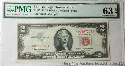 PMG $2 1963 UNC 63 EPQ Legal Tender United States Currency Note