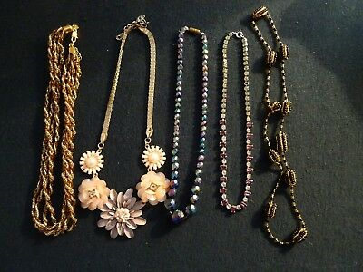 Mixed Lot Five Assorted Costume Jewellery Necklaces Glass Diamante