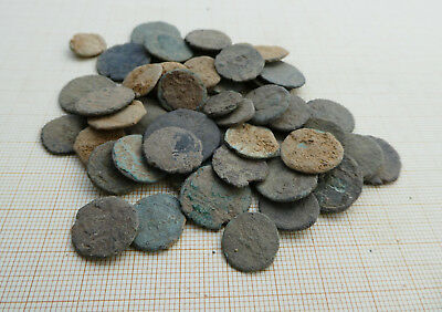 Lot of 50 ancient late Roman coins, uncleaned (L4)