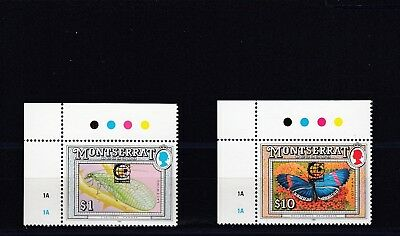 a130 - MONTSERRAT - 1995 MNH INSECTS OVPT SINGAPORE 95 $1 & $10
