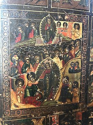 WOW! Antique Russian Icon Painting Orthodox Wood Wooden Gold Old Painted NR!!!!!
