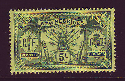 New Hebrides. 1911. Sg 28, 5/- Green/yellow. Mounted Mint.