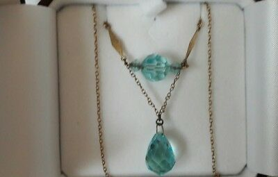 Art deco 9ct gold Crystal Glass drop pendant necklace ~ beautiful blue ~boxed