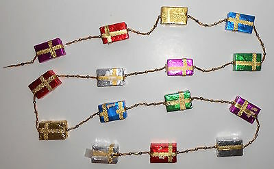 VINTAGE CHRISTMAS GARLAND Jumbo Gifts Glass Beads Tube Spacers 102 Inches Long
