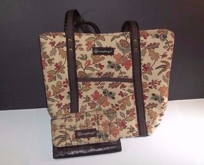 Longaberger Autumn Path Tote Bag Fall Leaves Set with Matching Wallet