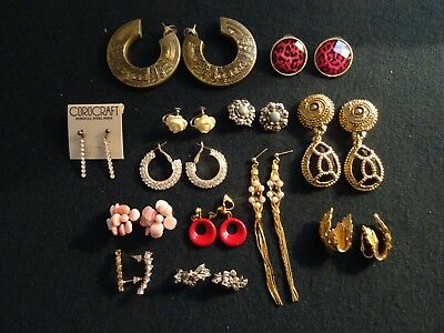 Mixed  Lot 13 Pairs Vintage/modern Costume Jewellery Clip & Pierced Earrings