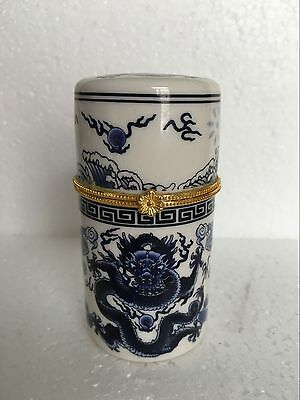 Chinese Blue Ssangyong and white porcelain Toothpick Holder/ Gift Box