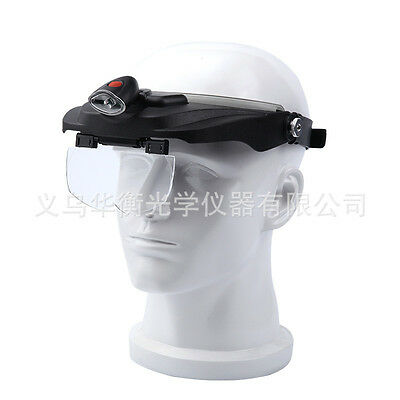 Old Man Magnifying Glasses Loupe Magnifier Loop Headband Watch Paper LED Light