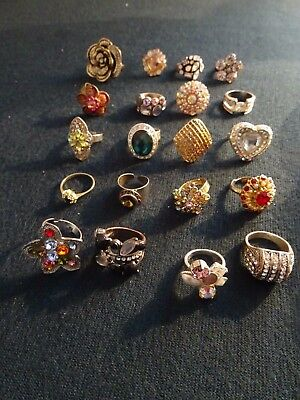 Mixed Lot 20 Assorted Diamante Coloured Glass Costume Jewellery Statement Rings