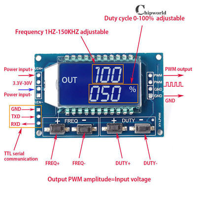Signal Generator PWM Pulse Frequency Duty Cycle Adjustable Module LCD 1Hz-150Khz