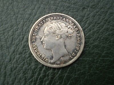Queen Victoria YH Silver Sixpence Nice Detail (Dirty) 1883