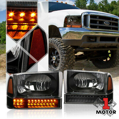 99 F350 Headlights >> Black Housing Headlight Amber Corner Led Signal For 99 04 F250 F350 Super Duty