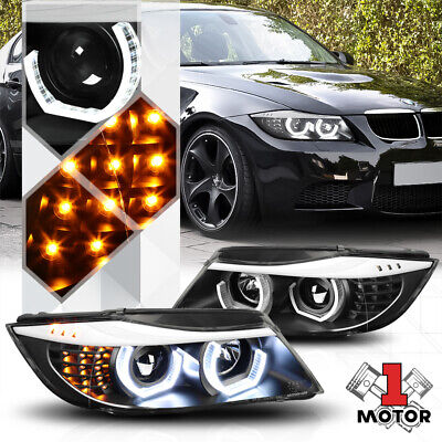 Black Dual 3D LED Halo Projector Headlight LED Signal for 06-08 BMW E90 3-Series