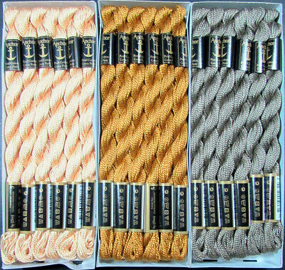 36x Needlepoint/Embroidery THREAD Anchor Cotton Pearl 5/Brown, Grey-FL223