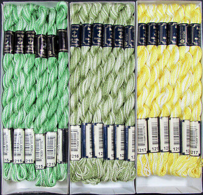 36x Needlepoint/Embroidery THREAD Anchor Cotton Pearl 5/Yellow, Green-FL51