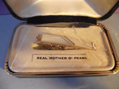 Vintage Gold Tone/Plated Mother of Pearl Stratton Tie Clip Cased English