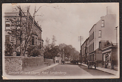 1916 Londonderry Soldiers Home & Clooney Road Ireland Postcard Derry