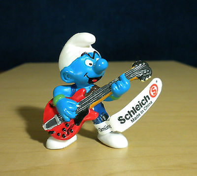 Smurfs Lead Guitar Smurf Vintage Figure Schleich Music Band Toy PVC 20449 2.0449
