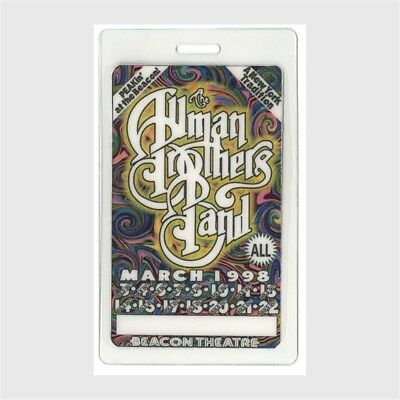 Allman Brothers authentic 1998 concert Laminated Backstage Pass 15 Peachy Nights