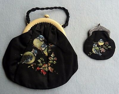 An Antique Black Satin Handbag With Painted Bluebirds & Matching Purse
