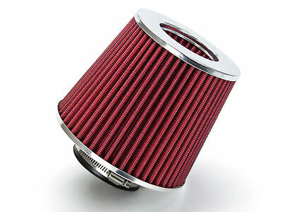 """RED UNIVERSAL 2.5/"""" CHROME TOP AIR FILTER FOR VOLVO//JAGUAR SHORT//COLD AIR INTAKE"""