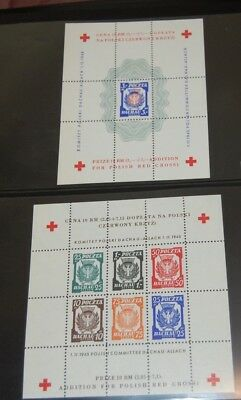 Poland 1945 local red cross sheets