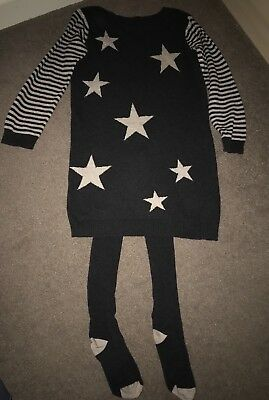 Lovely Girls Nutmeg Jumper Dress And Tights Christmas 8-9 Years