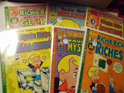 Richie Rich Collector Comic Lot of 6-Riches,Gloria,Inventions,Diamonds,Millions