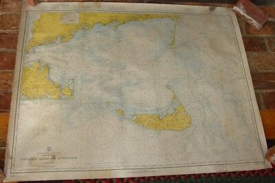 Nantucket Sound & Approaches Old Working 1919 Nautical Chart Corrected to 1966