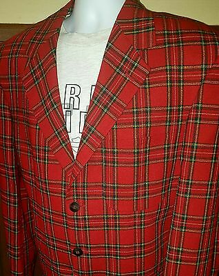 Vtg Mod Bill Blass  Tartan Plaid Wool Sport Coat 44R 3 Btn