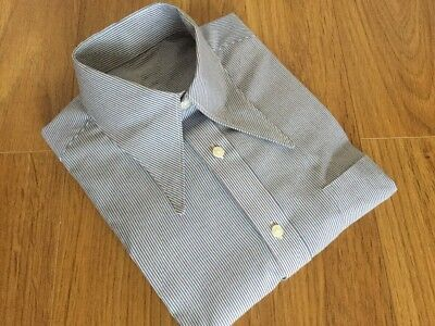 "Men's white/blue/redstripe 1940's vintage style WWII 15"" spearpoint collar shirt"
