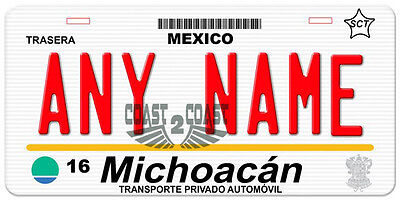 Michoacan Mexico Auto Novelty License Plate