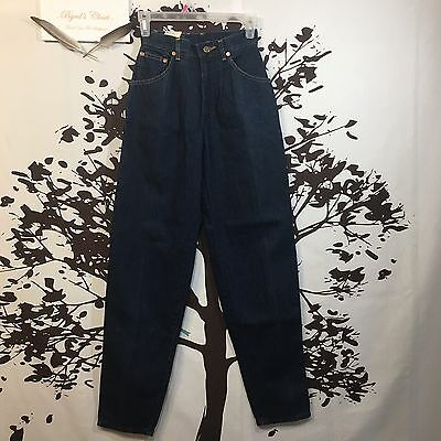 Vintage Lee Women's Dark Wash High Waist Pleated Tapered Mom Jeans Size 3 NEW