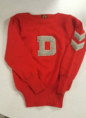 30s 40s 50s Vtg FOOTBALL VARSITY SWEATER D RED CHILDS SZ L LOWE & CAMPBELL 32