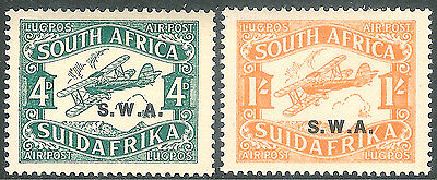 South West Africa 1930 Air-mail green 4d orange 1/- first printing mint SG70/71