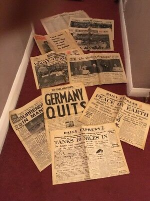 10 Wwii News Papers Ephemera Inc, Ve Day Plus Churchill's Death