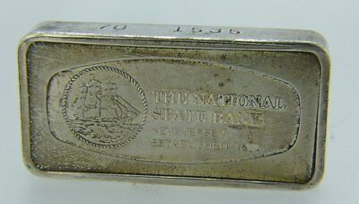 The National State Bank New Jersey Franklin Mint 1000 Grains Sterling Silver Bar